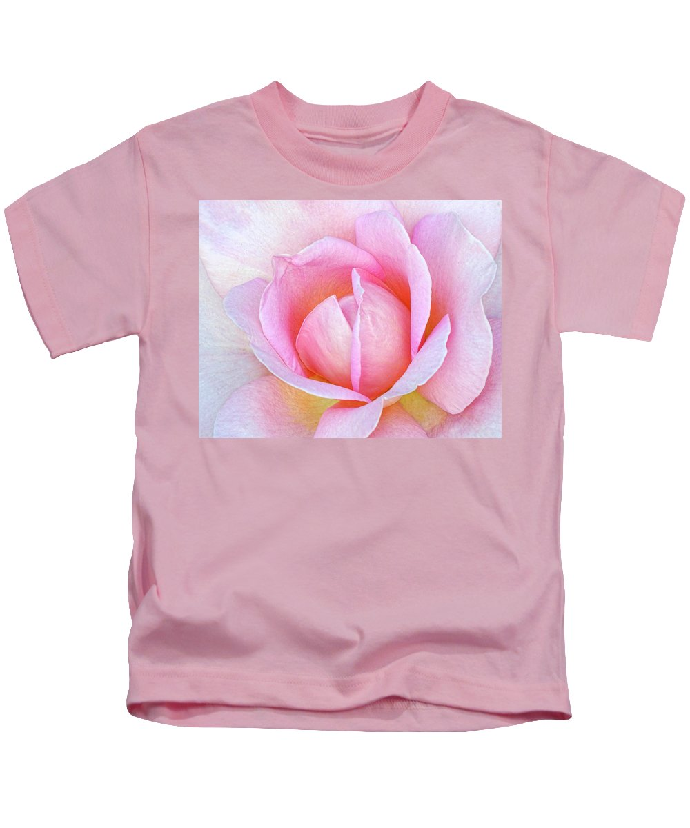 Rose.pink Rose Kids T-Shirt featuring the photograph The Heart Of A Rose by Dave Mills