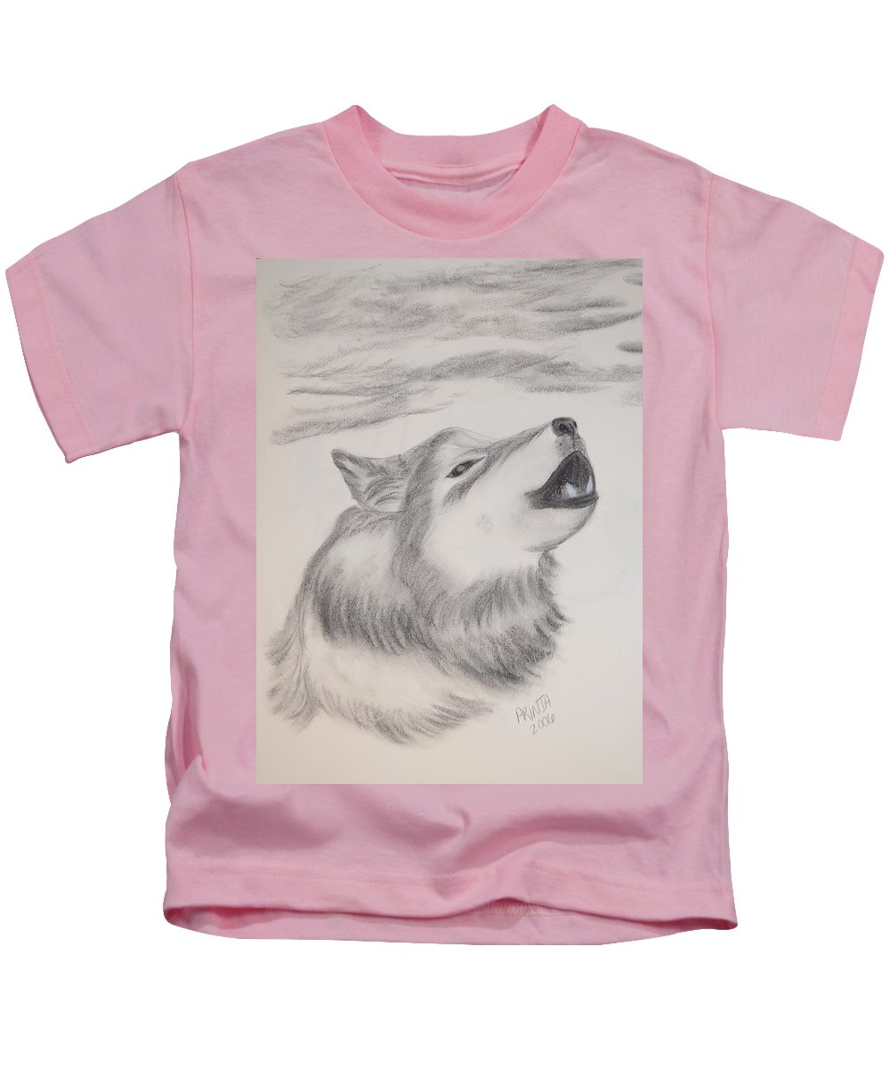 Wolf Kids T-Shirt featuring the drawing The Howler by Maria Urso