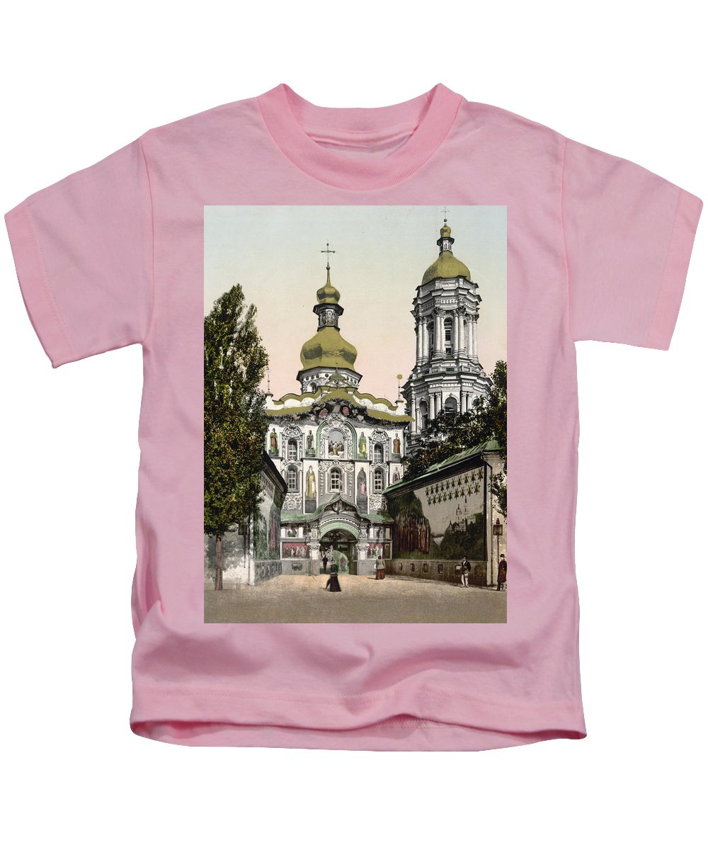 Lavra Kids T-Shirt featuring the photograph The Lavra Gate - Kiev - Ukraine - Ca 1900 by International Images
