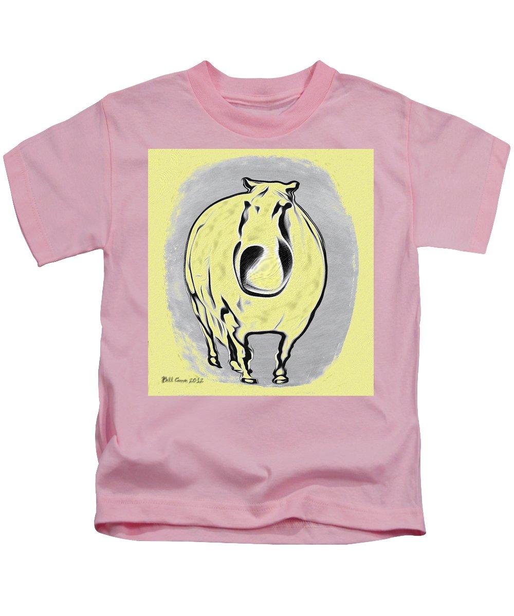 The Legend Of Fat Horse Kids T-Shirt featuring the digital art The Legend Of Fat Horse by Bill Cannon