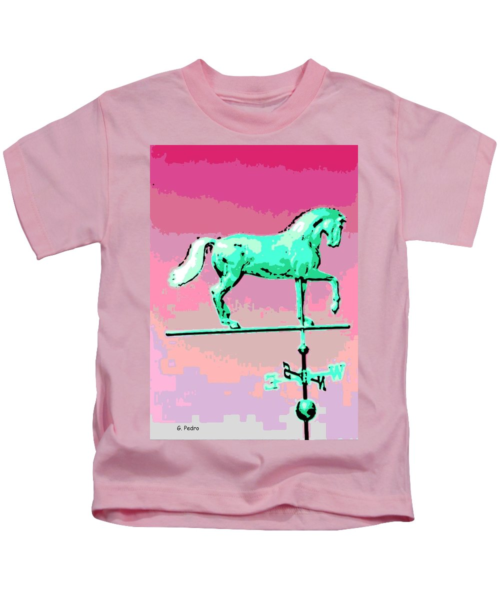 Horse Kids T-Shirt featuring the photograph Westward Ho by George Pedro