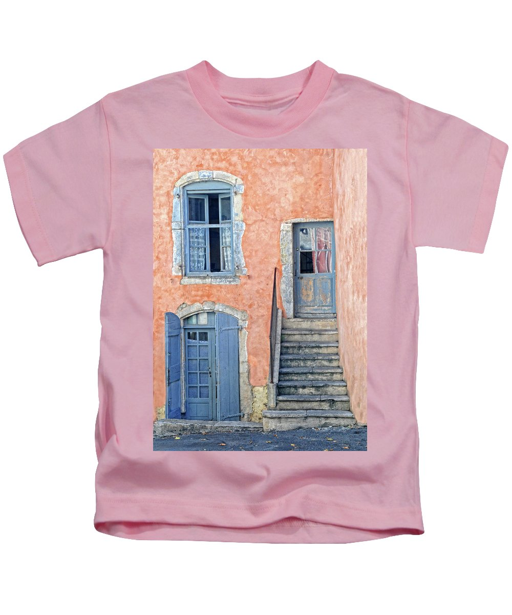 Provence Kids T-Shirt featuring the photograph Window And Doors Provence France by Dave Mills