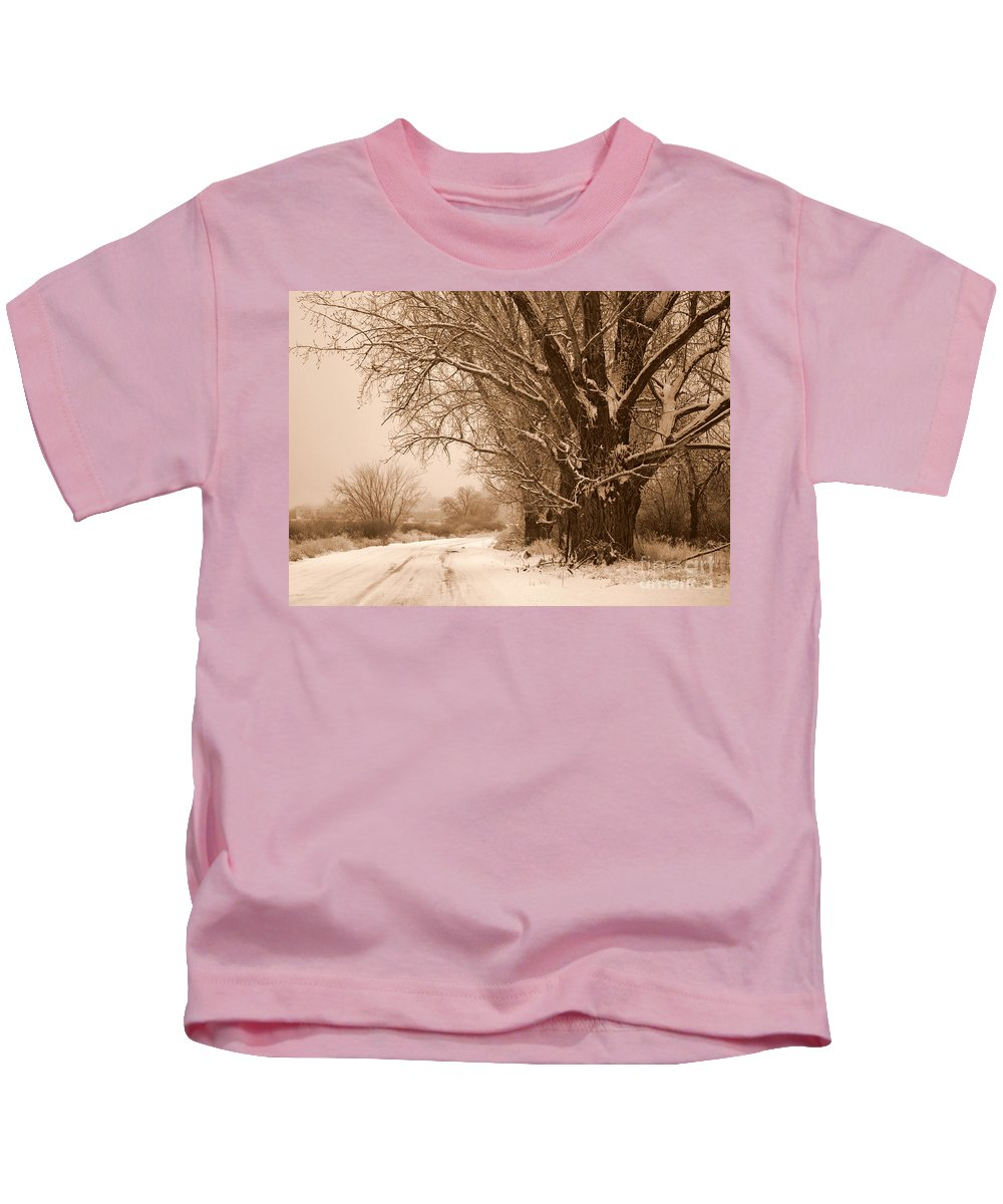 Winter Kids T-Shirt featuring the photograph Winter Country Road by Carol Groenen