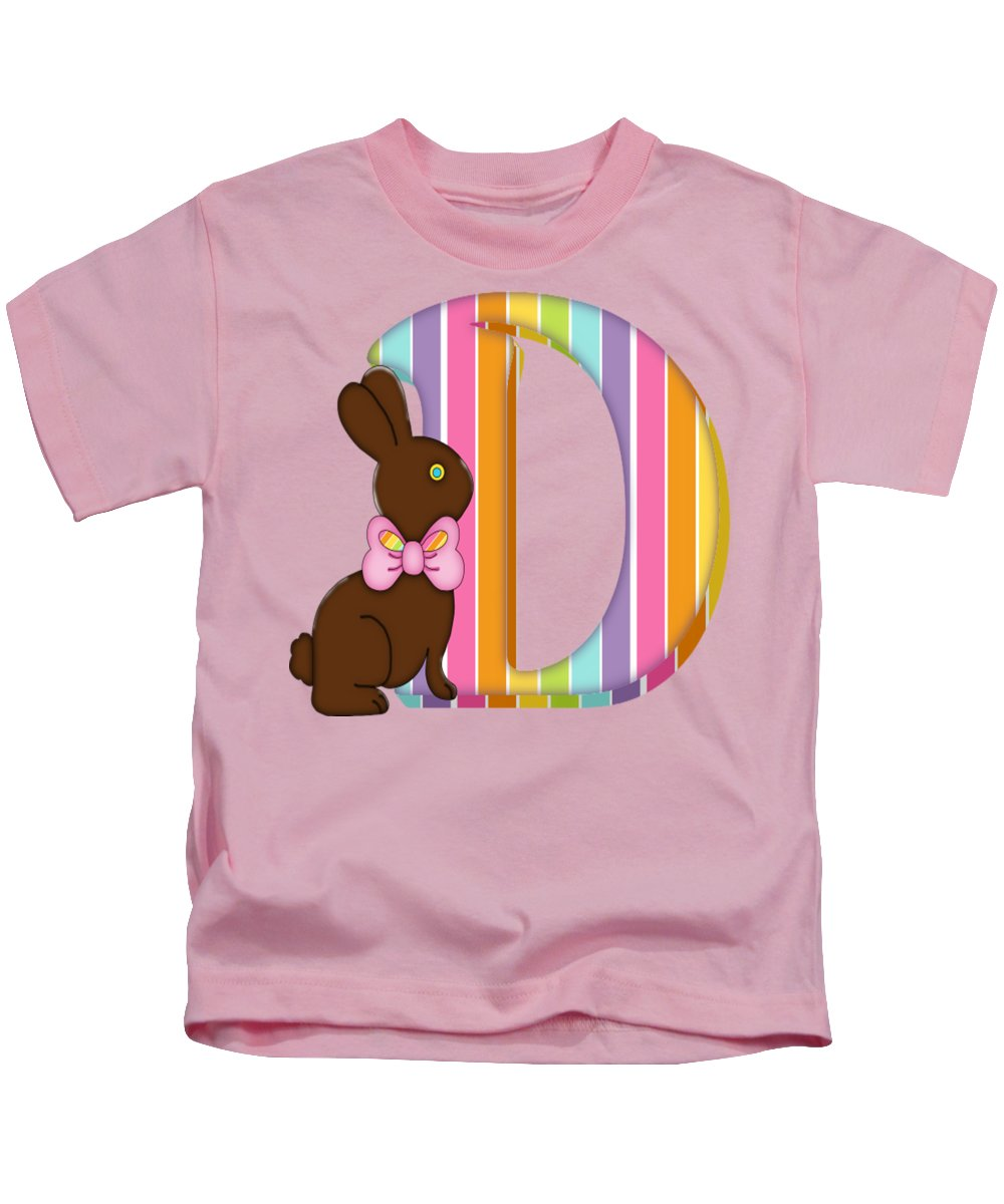 Monogram Kids T-Shirt featuring the digital art Letter D Chocolate Easter Bunny by Debra Miller