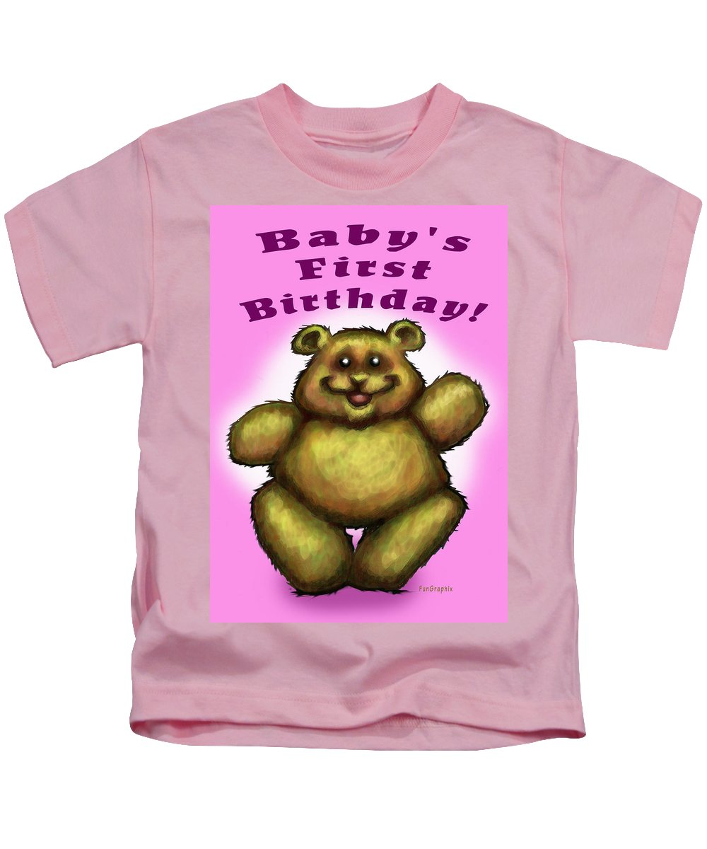Baby Kids T-Shirt featuring the greeting card Babys First Birthday by Kevin Middleton