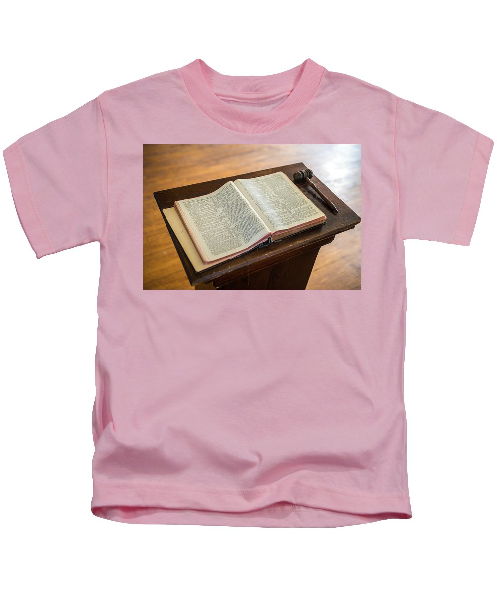 Print Kids T-Shirt featuring the photograph Bible And Gavel by Donald Erickson