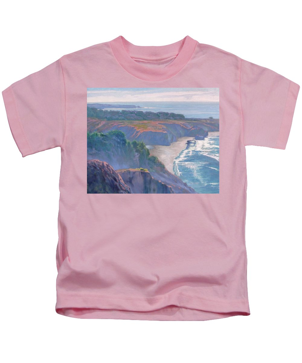 Big Sur Kids T-Shirt featuring the painting Big Sur Coast by Sharon Weaver