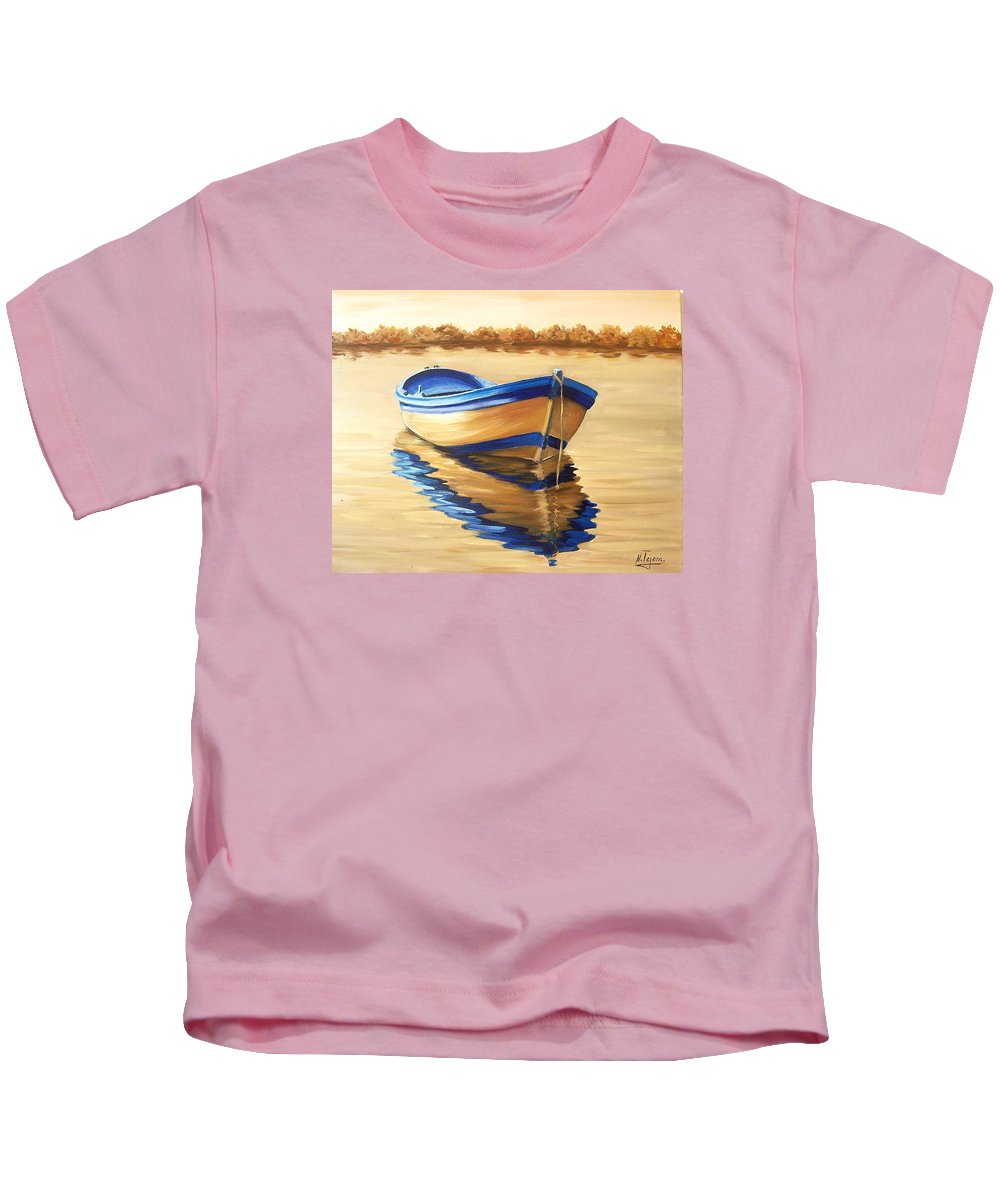 Still Life Kids T-Shirt featuring the painting Lake by Natalia Tejera