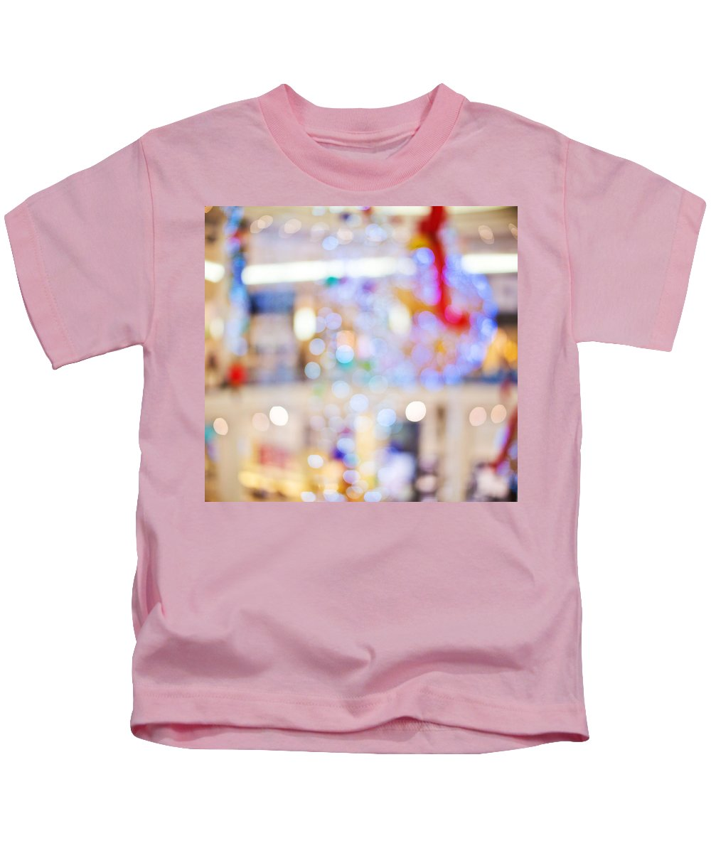 Merry Christmas And Happy New Year Kids T-Shirt featuring the photograph Christmas Lights by Alex Art and Photo