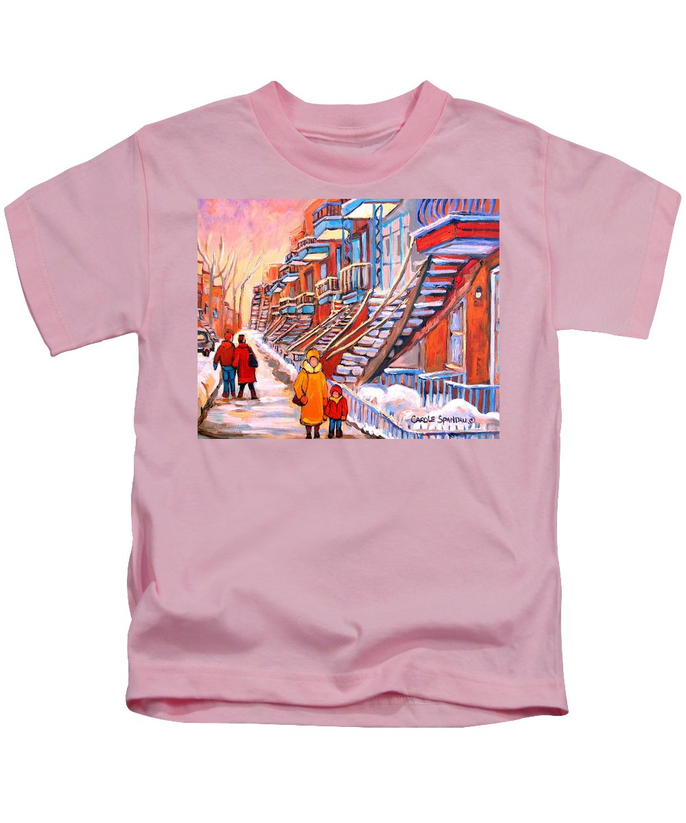 Debullion Street Winter Walk Kids T-Shirt featuring the painting Debullion Street Winter Walk by Carole Spandau