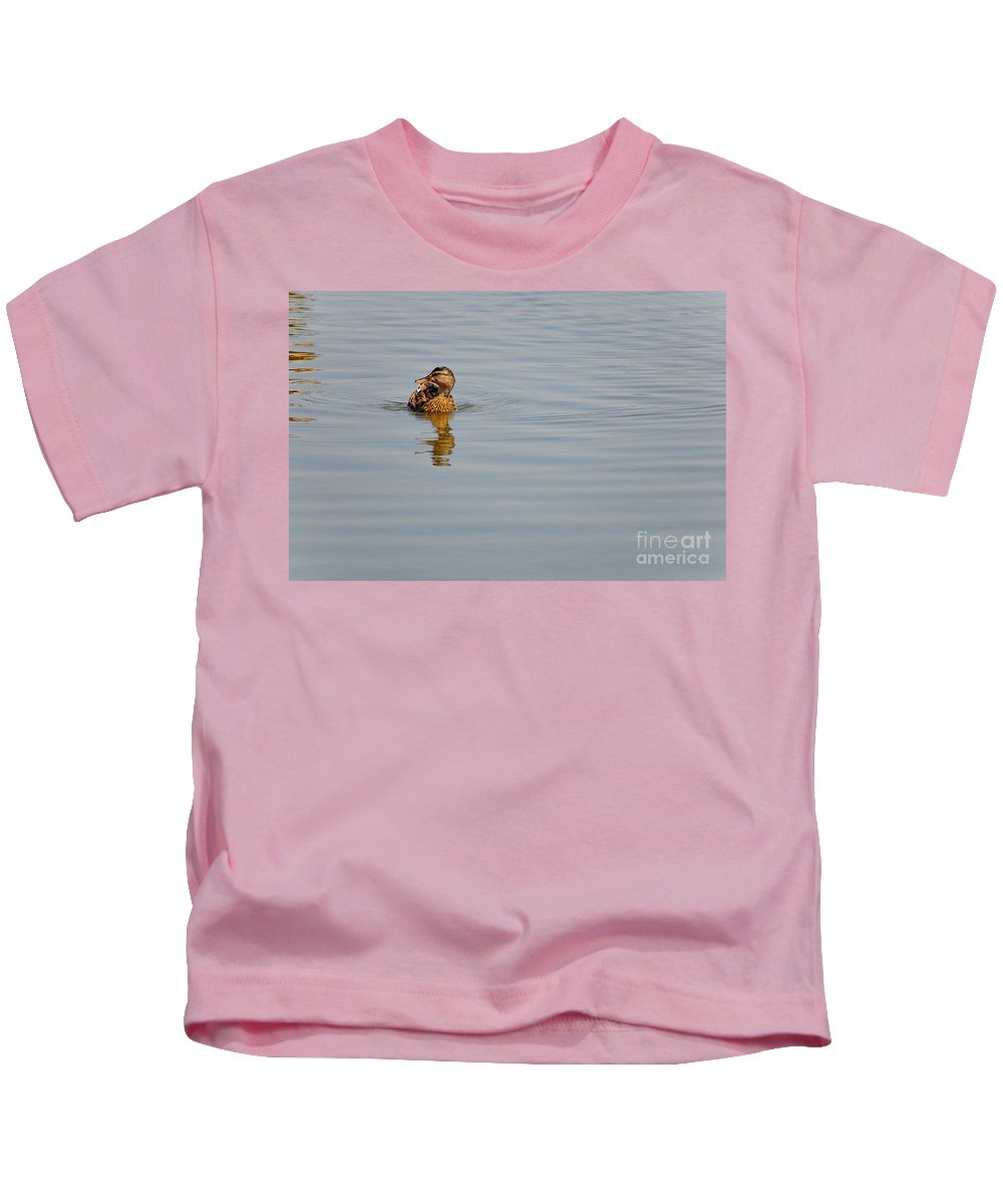 Lake Kids T-Shirt featuring the photograph Duck by Valerio Poccobelli