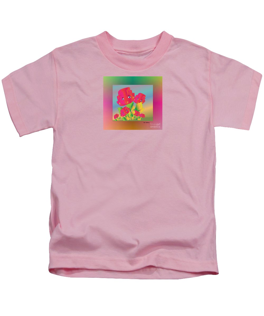 Cartoon Kids T-Shirt featuring the digital art Flower Power by Iris Gelbart