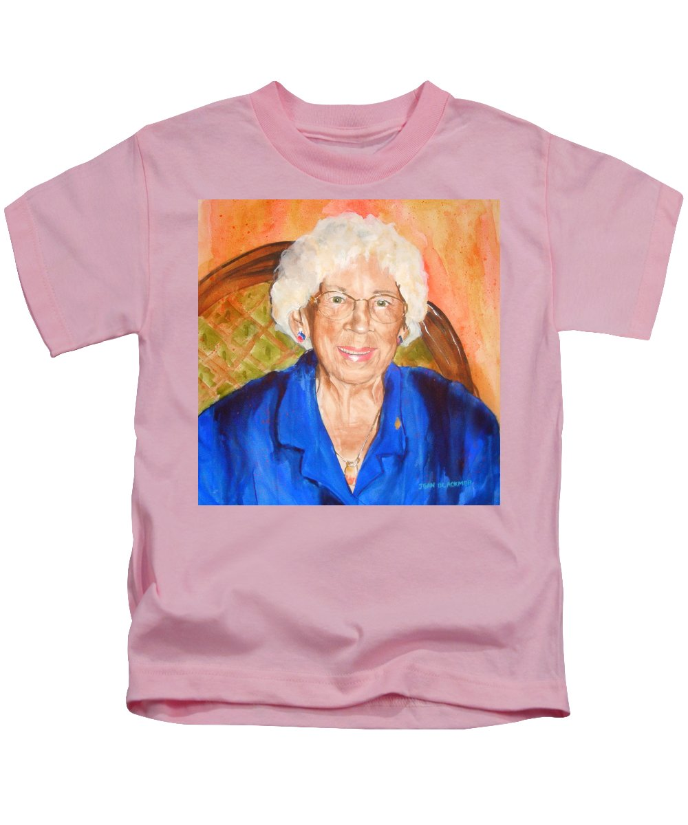 Portrait Kids T-Shirt featuring the painting Granny by Jean Blackmer