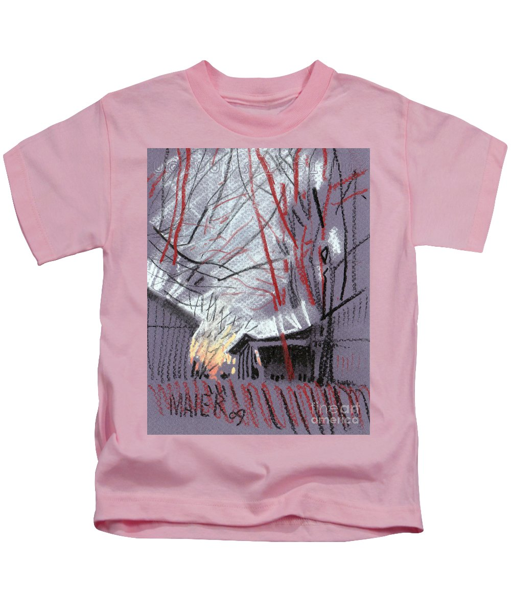Pastel Kids T-Shirt featuring the drawing Grey Evening by Donald Maier