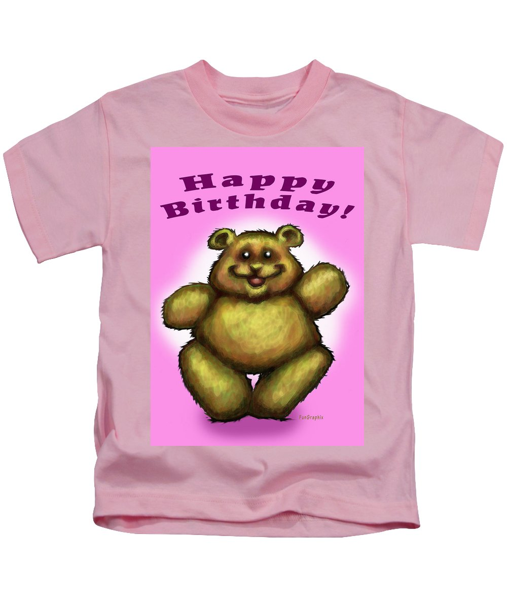 Pink Kids T-Shirt featuring the greeting card Happy Birthday Bear by Kevin Middleton