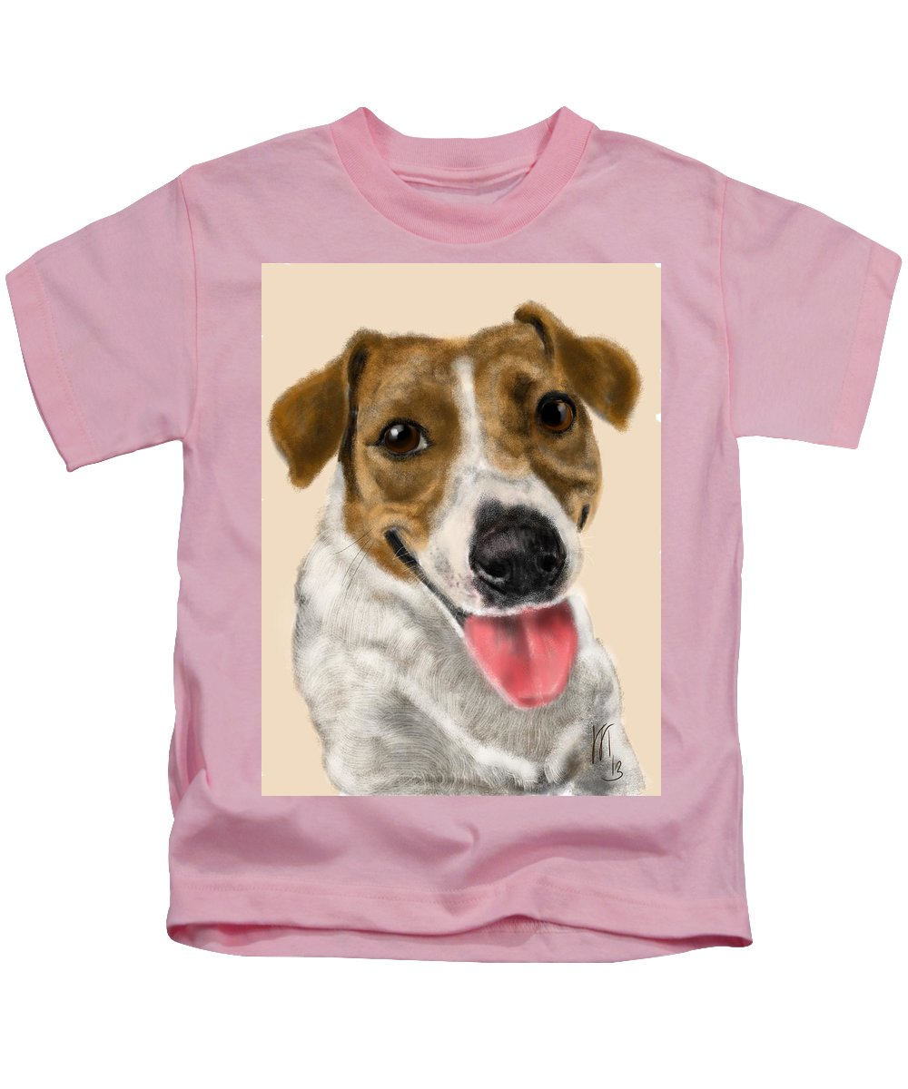 Animals Kids T-Shirt featuring the painting Happy Dog by Lois Ivancin Tavaf