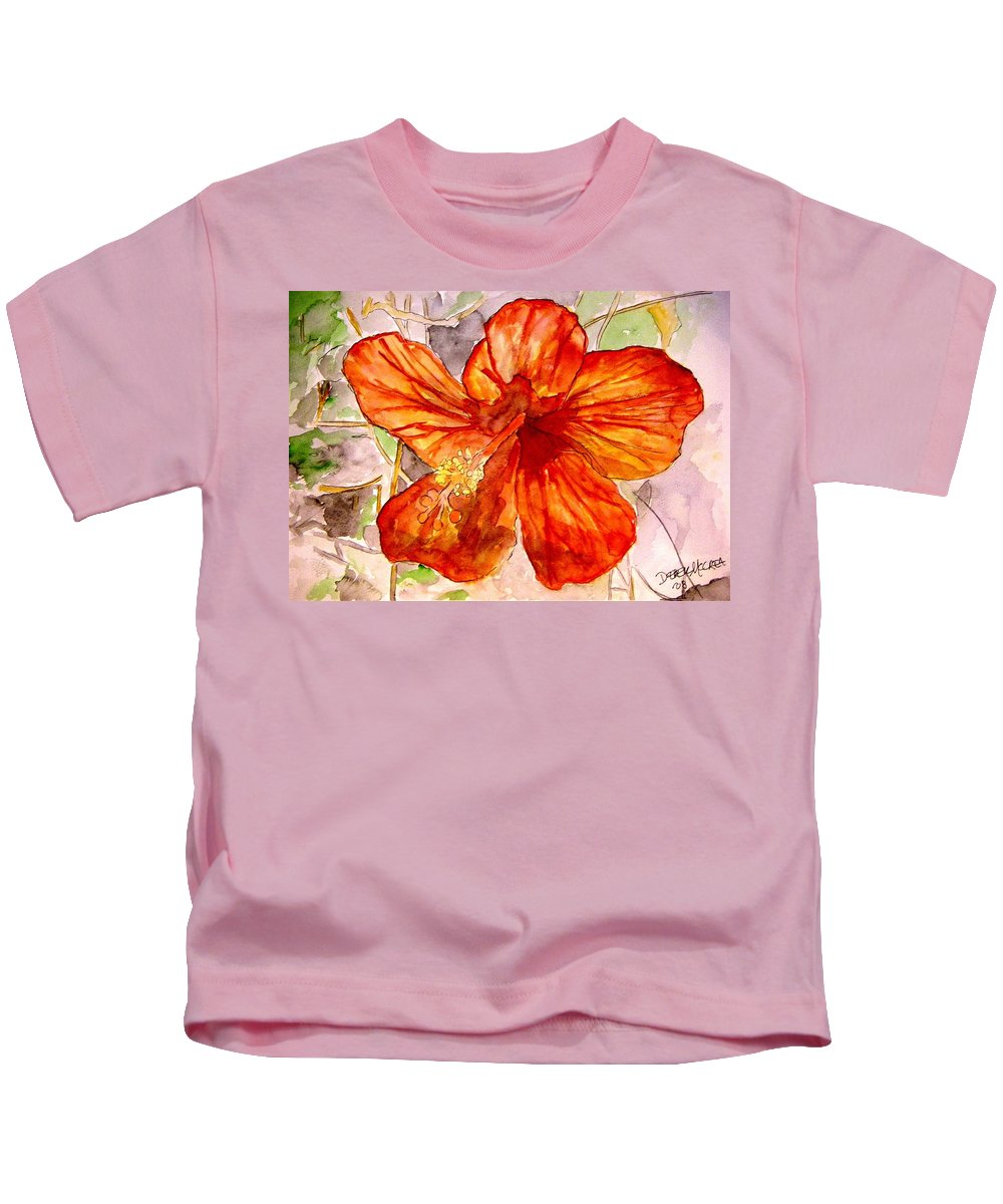 Hibiscus Kids T-Shirt featuring the painting Hibiscus 2 by Derek Mccrea