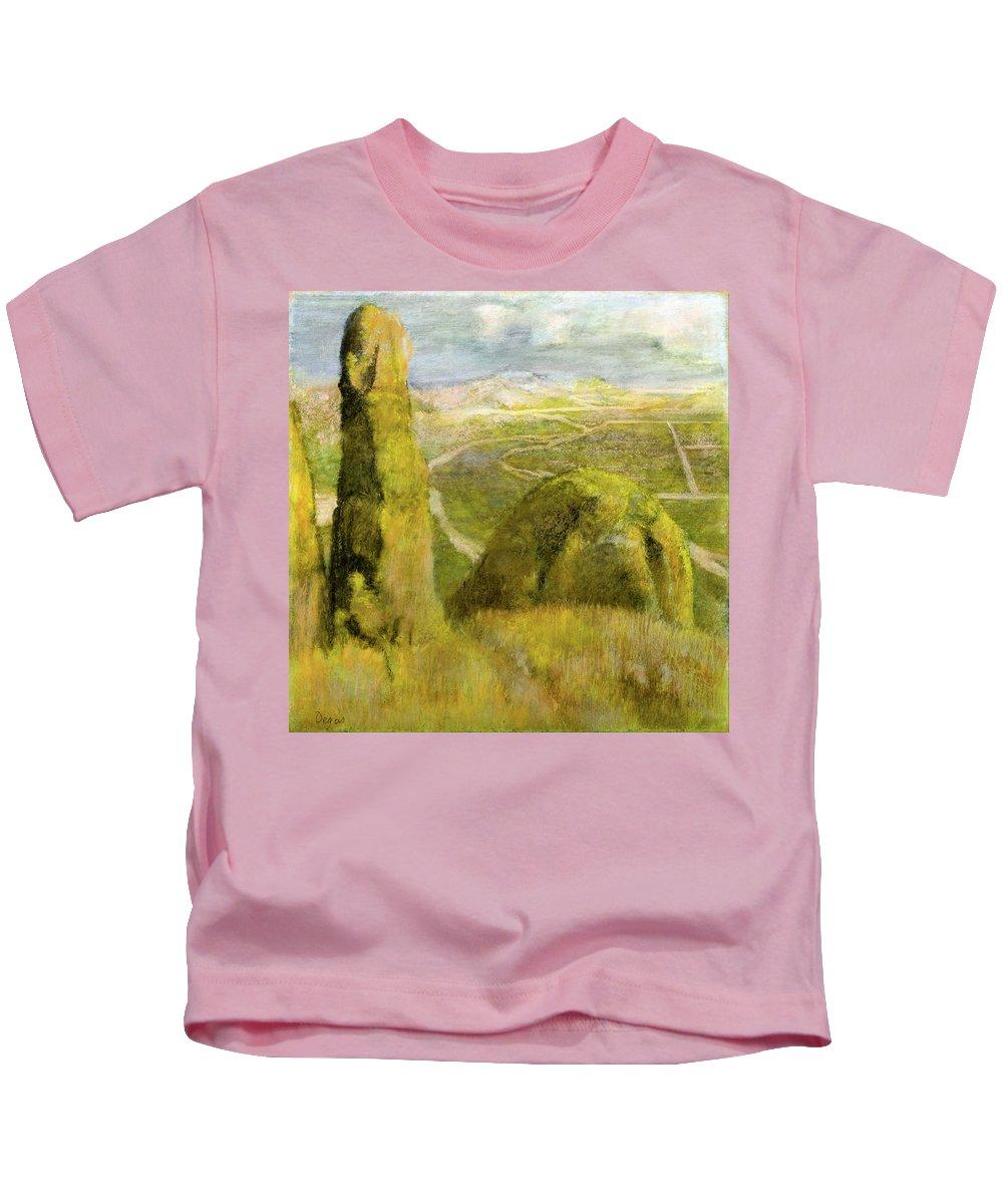 Landscape Kids T-Shirt featuring the painting Landscape by Edgar Degas