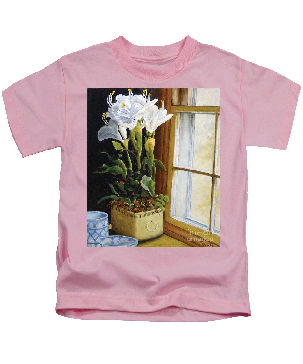 Art Kids T-Shirt featuring the painting Lillies by Richard T Pranke