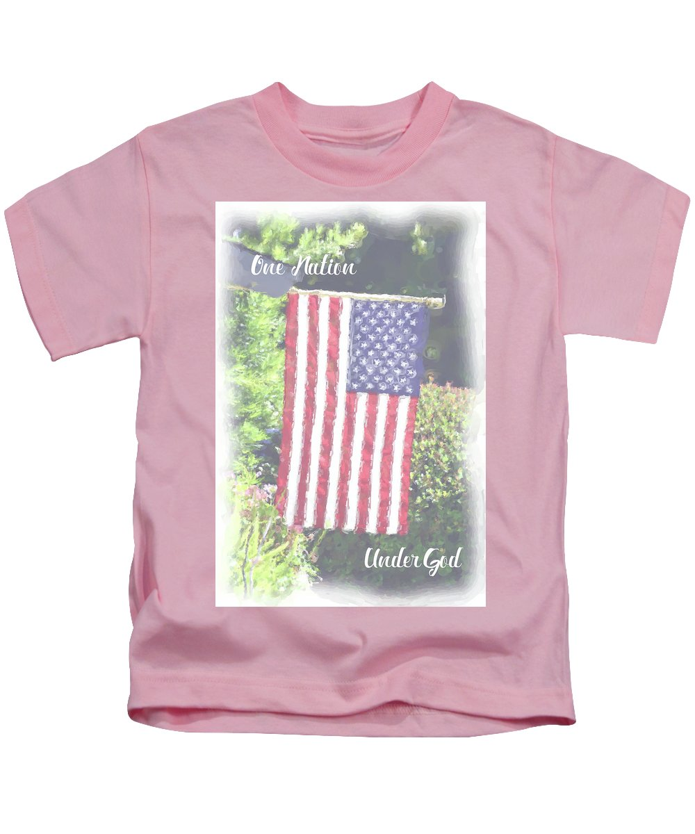 One Nation Under God Kids T-Shirt featuring the digital art One Nation Under God by Lynn Bauer