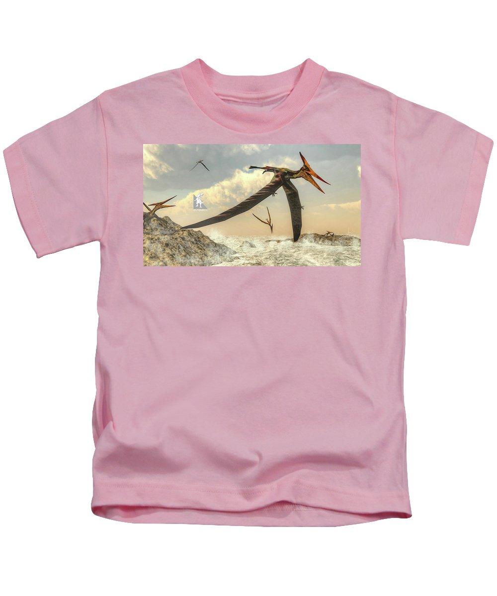 Dinosaur Kids T-Shirt featuring the digital art Pteranodon Birds Flying - 3d Render by Elenarts - Elena Duvernay Digital Art