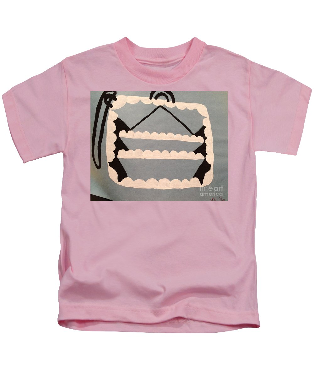 All Black And White And Purple Kids T-Shirt featuring the painting Purse Design by Lise Theodoridis