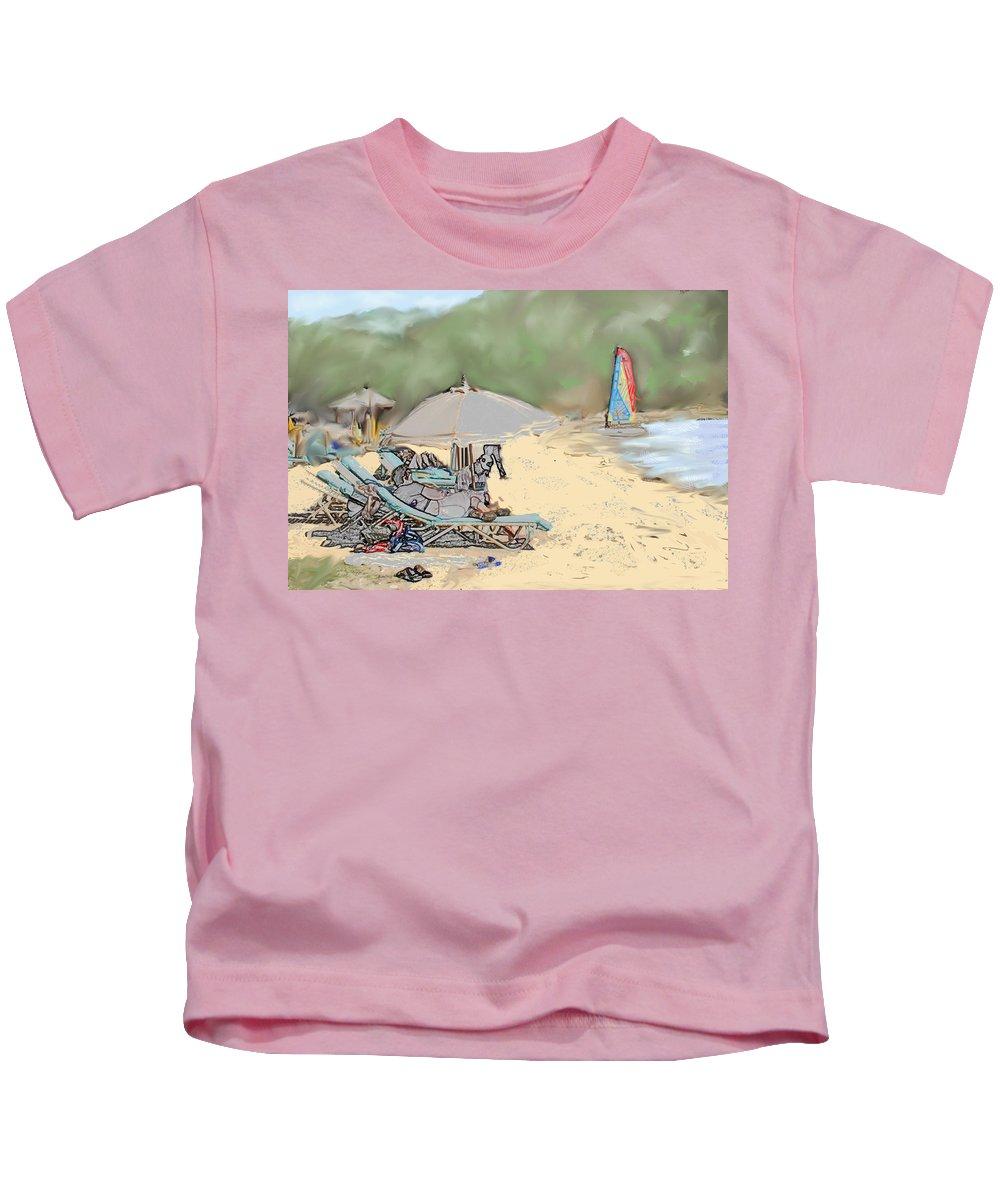 Beach. Toursts Kids T-Shirt featuring the digital art Reggae Beach by Ian MacDonald