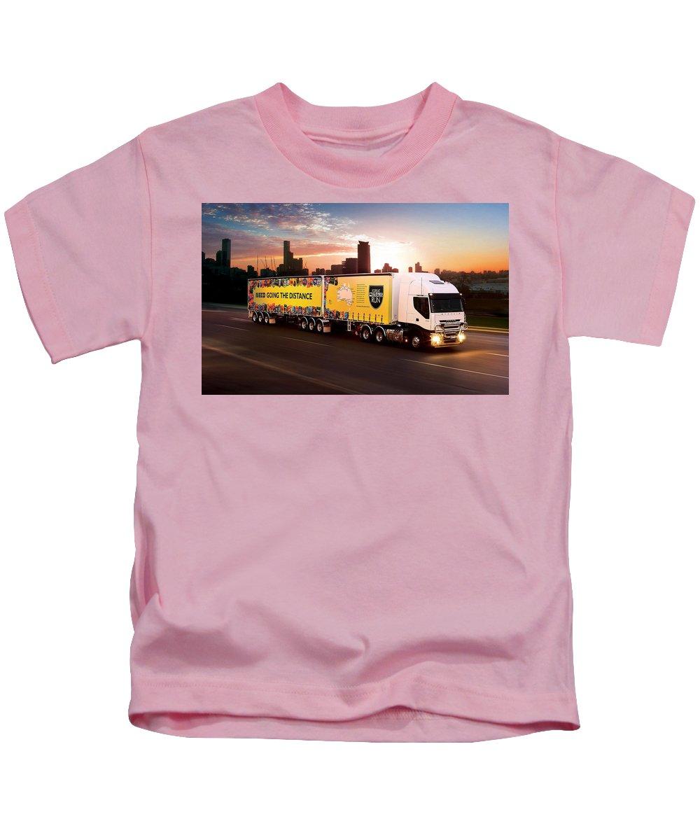 Semi Kids T-Shirt featuring the digital art Semi by Dorothy Binder