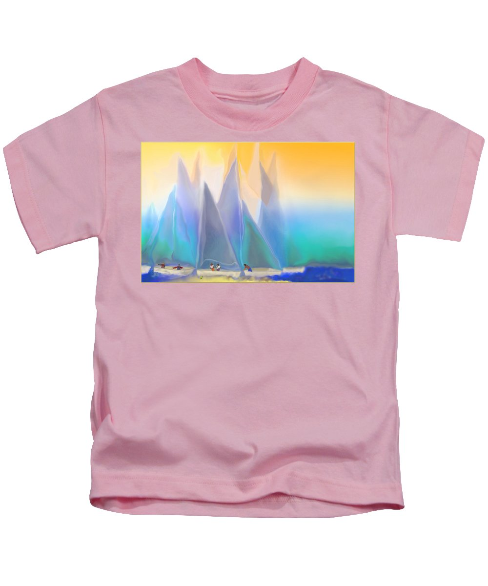 Summer Kids T-Shirt featuring the digital art Smooth Sailing by Mathilde Vhargon