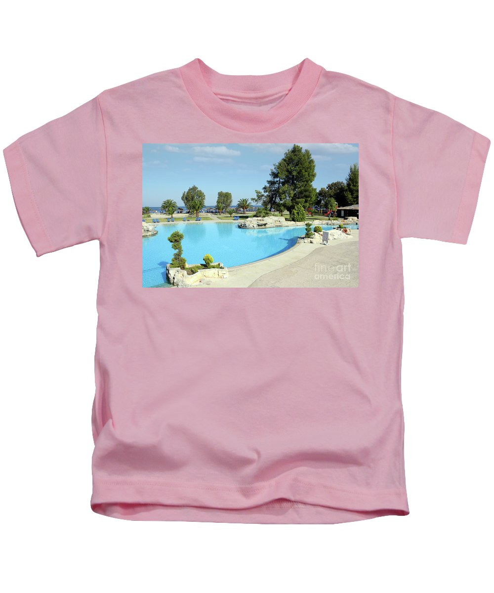 Swimming Pool Kids T-Shirt featuring the photograph Swimming Pool Summer Vacation Scene by Goce Risteski