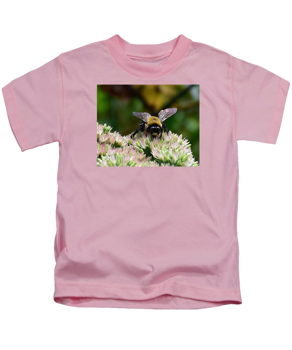 Ann Keisling Kids T-Shirt featuring the photograph The Bee by Ann Keisling