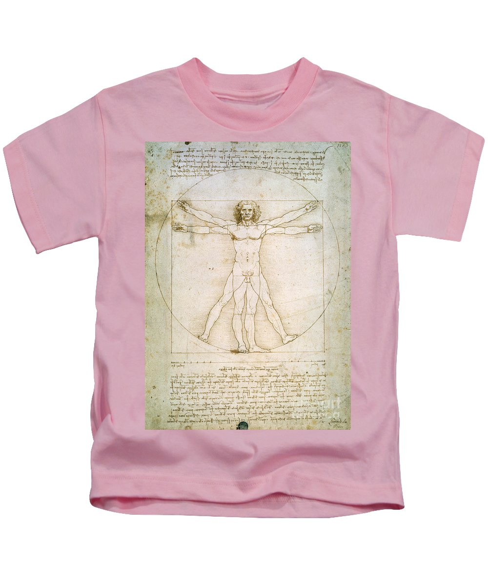 The Kids T-Shirt featuring the drawing The Proportions Of The Human Figure by Leonardo da Vinci