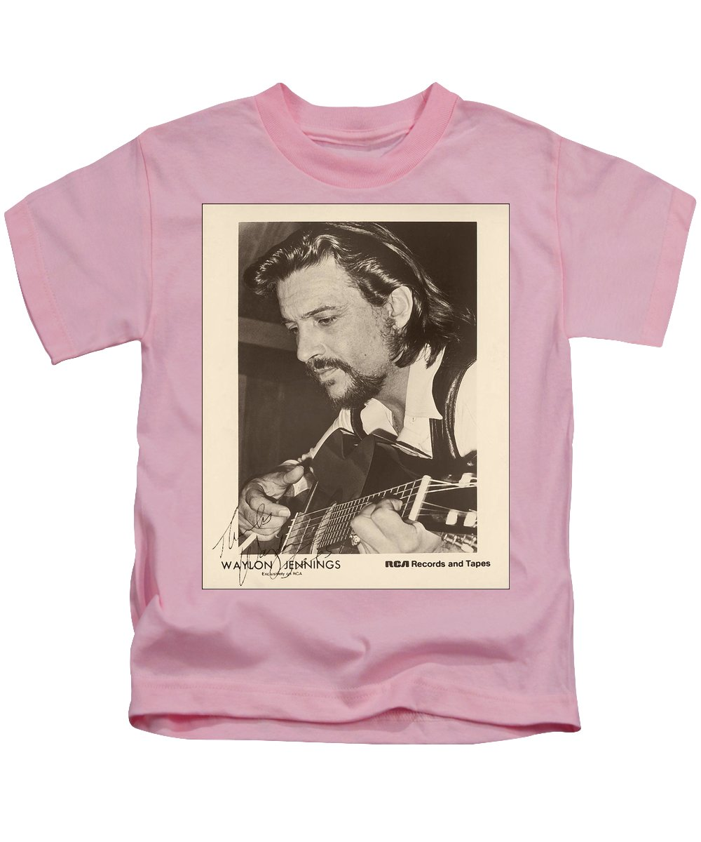 Publicity Photo Kids T-Shirt featuring the photograph Waylon Jennings 1971 Signed by Mountain Dreams