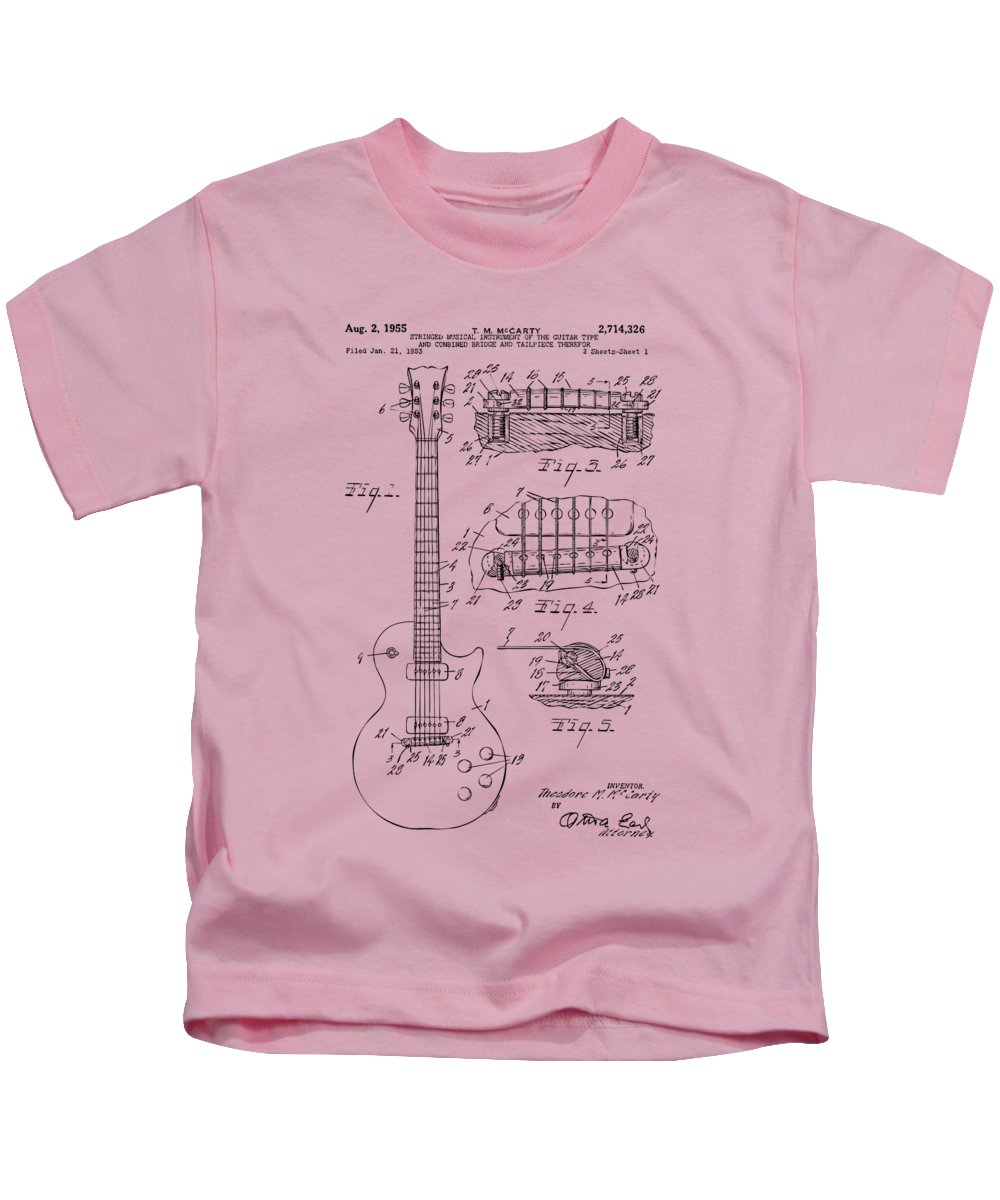 Guitar Kids T-Shirt featuring the drawing 1955 Mccarty Gibson Les Paul Guitar Patent Artwork Vintage by Nikki Marie Smith