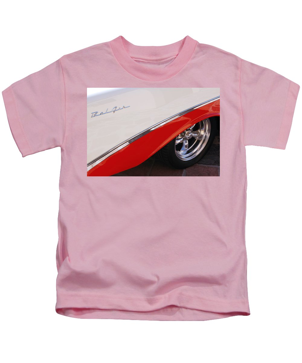 Chevy Kids T-Shirt featuring the photograph 1956 Chevrolet Belair Convertible Wheel by Jill Reger