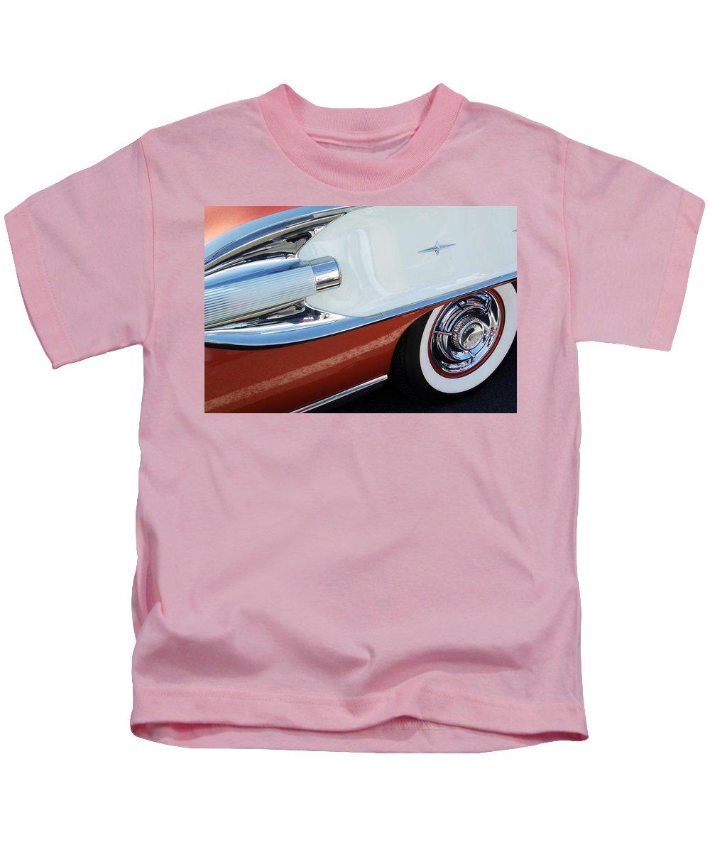 Car Kids T-Shirt featuring the photograph 1958 Pontiac Bonneville Wheel by Jill Reger