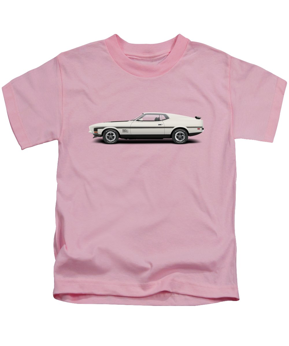 1971 Ford Mustang Mach 1 Wimbledon White Kids T Shirt For Sale By 1970 Featuring The Digital Art