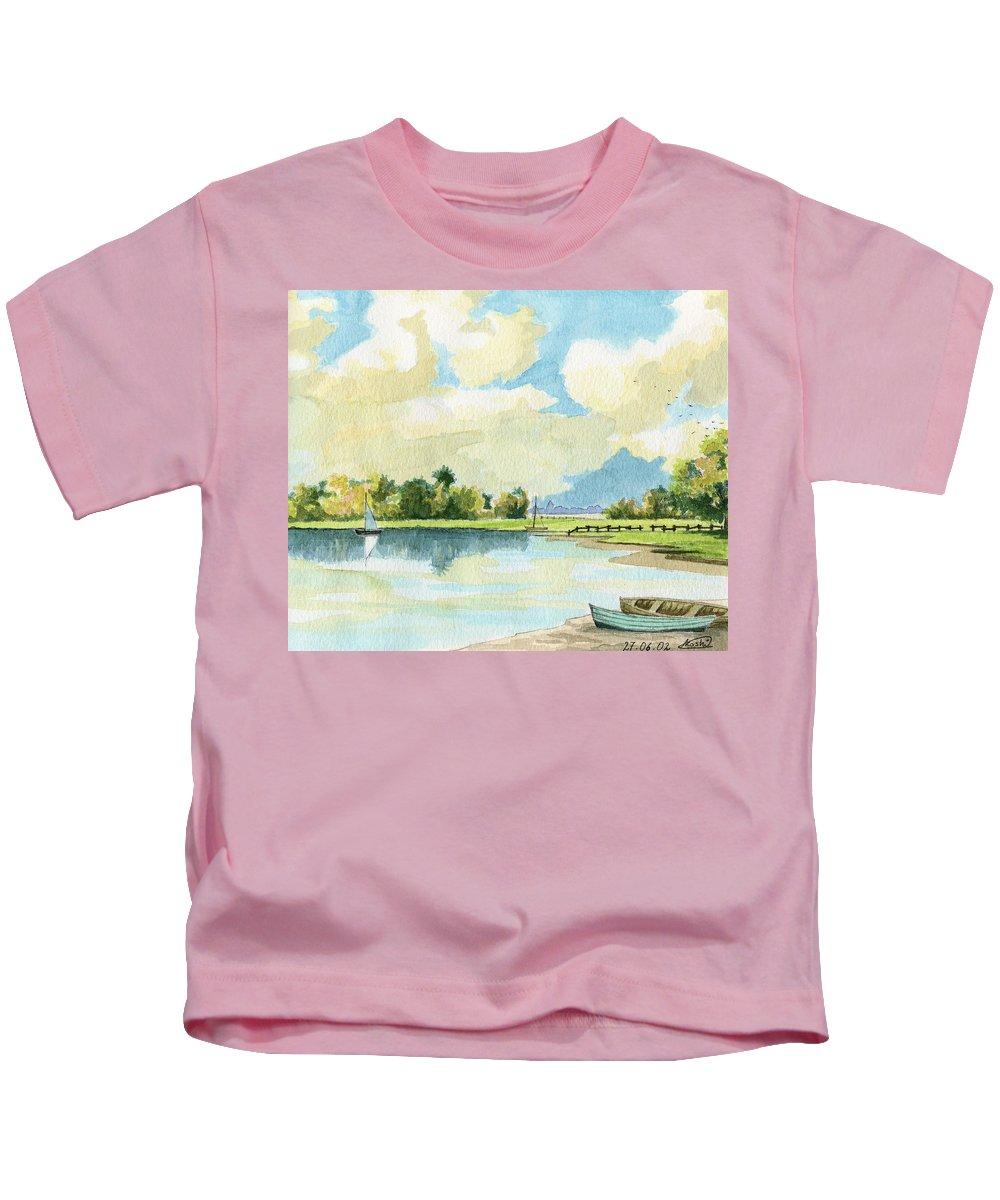 Lake Kids T-Shirt featuring the painting Fishing Lake by Alban Dizdari