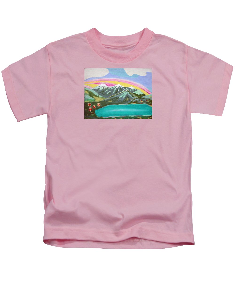 Impressionist Painting Kids T-Shirt featuring the painting From The Mountains To The Sea by J R Seymour