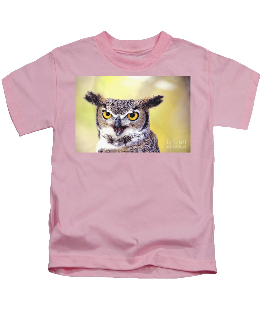 Animal Art Kids T-Shirt featuring the photograph Great Horned Owl by John Hyde - Printscapes