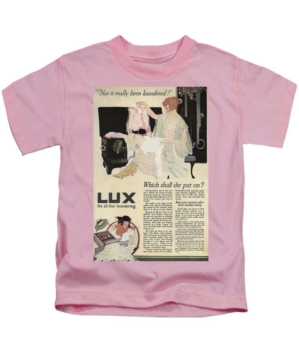 Ephemera Kids T-Shirt featuring the digital art Has It Really Been Laundered Vintage Soap Ad by Anne Kitzman