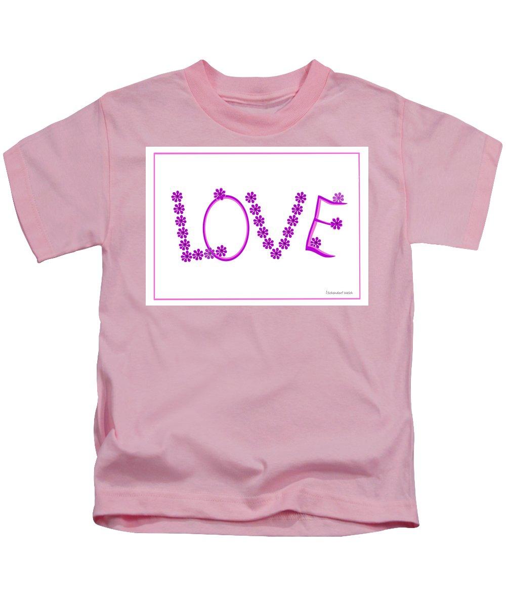 2612 Love 2018 Kids T-Shirt featuring the digital art 2612 Love 2018 by Irmgard Schoendorf Welch