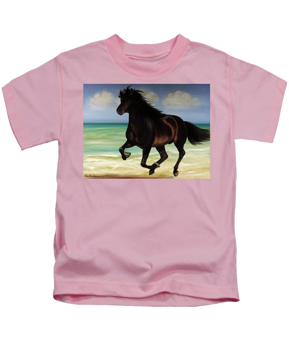 Horse Kids T-Shirt featuring the painting Horses in Paradise RUN by Gina De Gorna