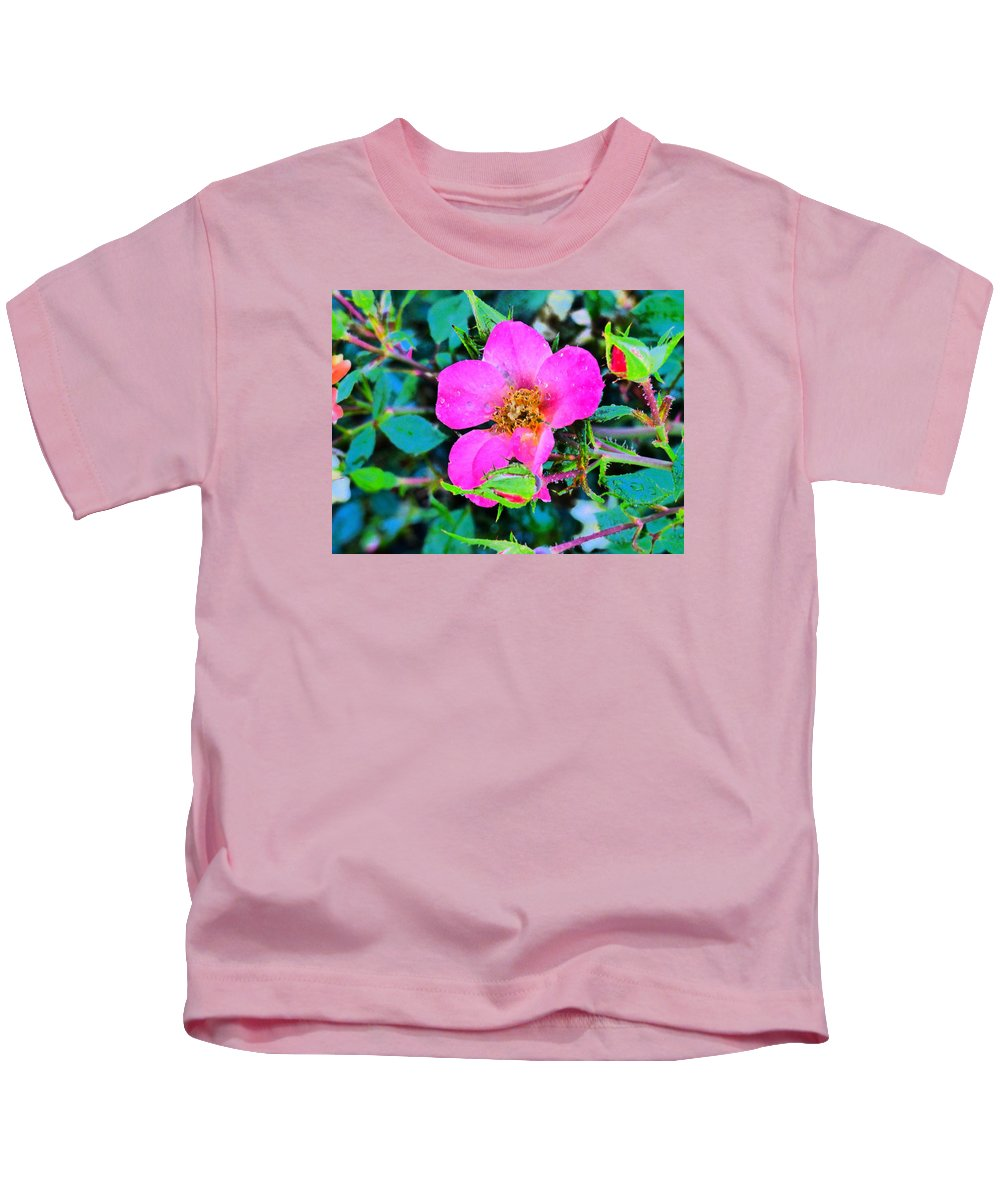 Flowers Garden Idaho Photography Kids T-Shirt featuring the photograph Downtown Train by Paul Stanner