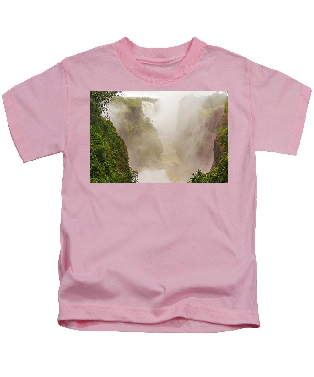 Victoria Falls Kids T-Shirt featuring the photograph Victoria Falls In Zambia by Marek Poplawski