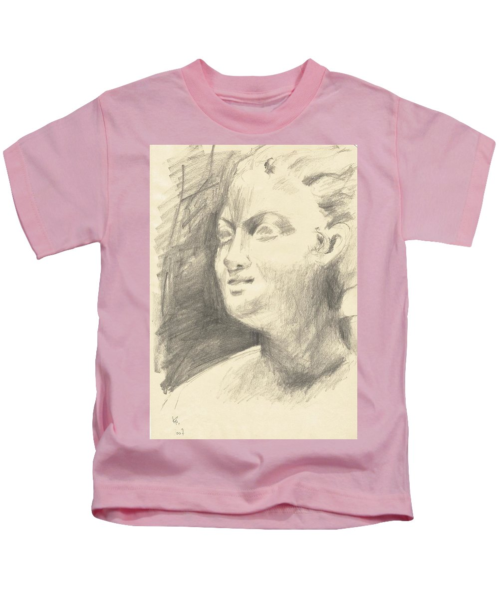 Drawing Kids T-Shirt featuring the drawing Drawing Of Ancient Sculpture by Karina Plachetka