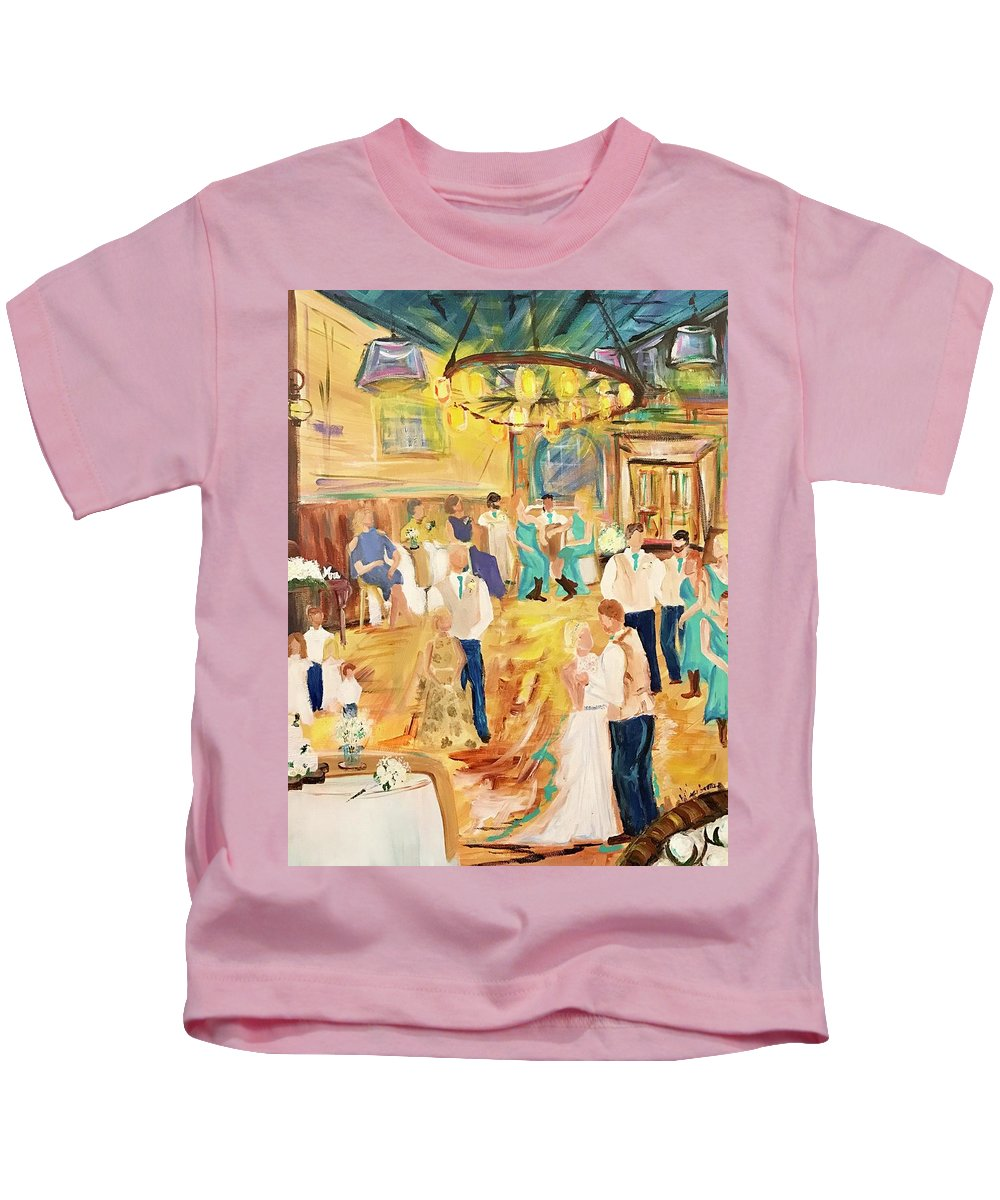 Kids T-Shirt featuring the painting 9/23/17 Rustic Barn Nuptial by Hillary George