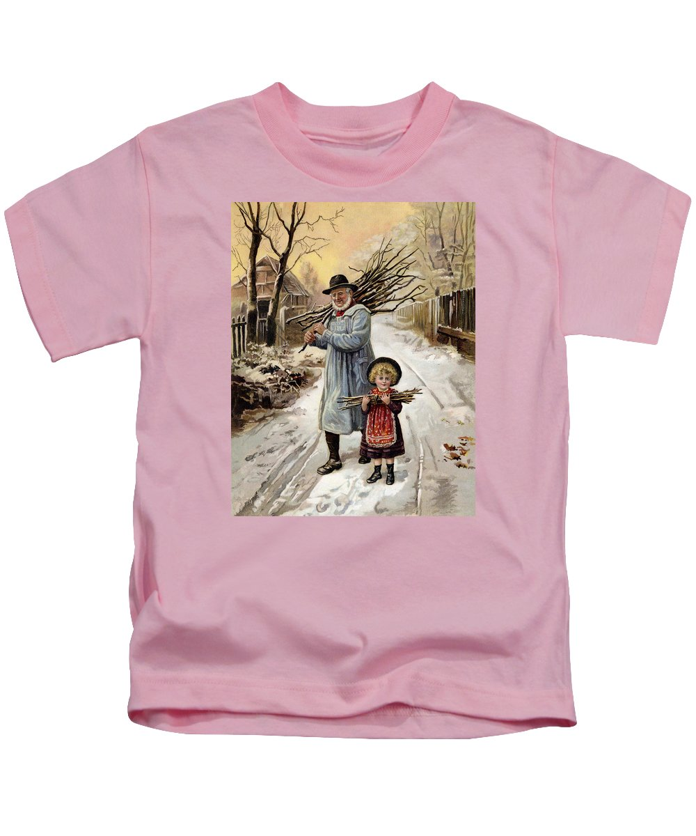 Wood Kids T-Shirt featuring the painting Vintage Christmas Card by English School