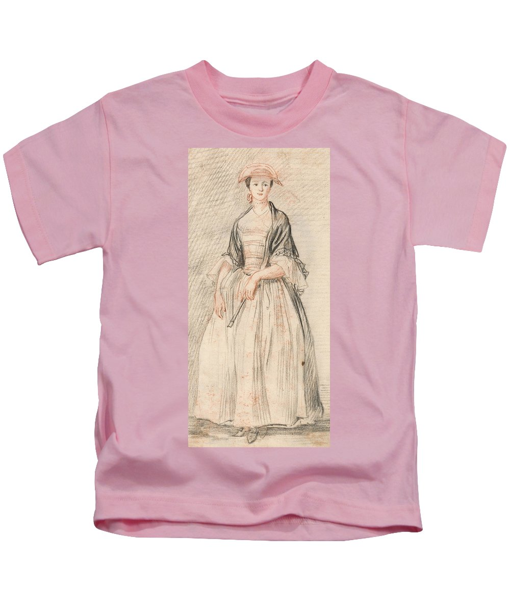 Paul Sandby Kids T-Shirt featuring the drawing A Lady With A Fan by Paul Sandby