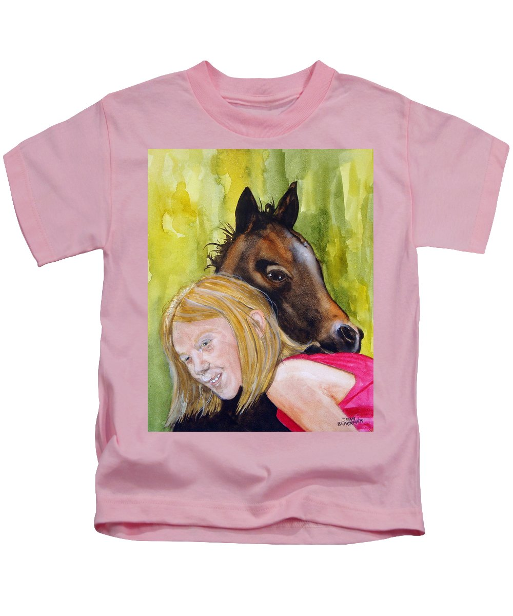 Equine Kids T-Shirt featuring the painting A Little Girl's Fancy by Jean Blackmer
